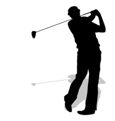 silhouette di giocate di golf