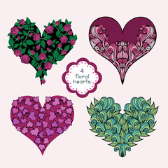 Set Of Floral Hearts