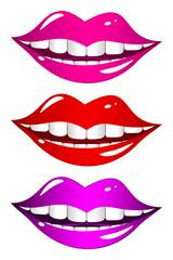 Mouth laughs. Set