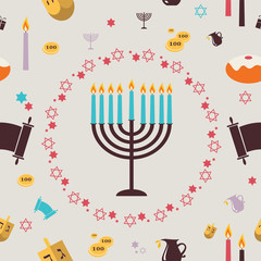 pattern with Hanukkah symbols. Greeting card