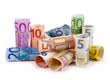 Leinwanddruck Bild - Geldrollen