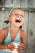 kids portrait with milk - 71187871