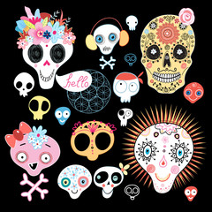 set of funny skulls