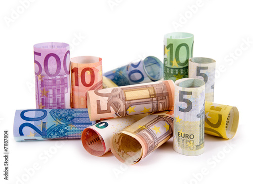 Leinwanddruck Bild Geldrollen