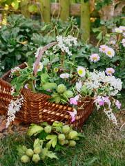 panier fleuri,campagnard,dans le jardin
