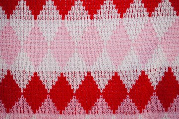 Background texture of checked woolen knitted pattern