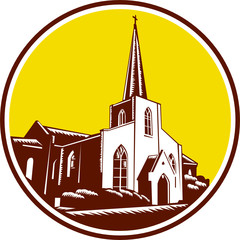 Trinity Parish Episcopal Church Woodcut Retro