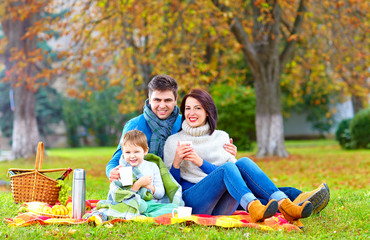 happy family drinking warm tea on autumn picnic