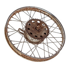 Old motorcycle rim isolated