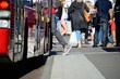 Leinwanddruck Bild - Person enters bus