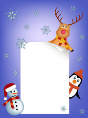 penguin, reindeer and snowman background