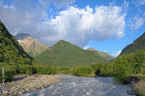 Morning view of Khares river and Kubus Mount, Caucasus, Russia