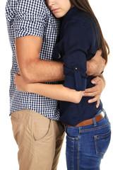 Embrace of loving couple isolated on white