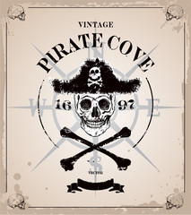 Vintage pirates skull frame background