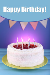 Cake on blue background