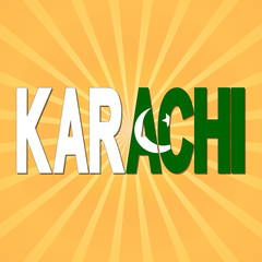 Karachi flag text with sunburst illustration