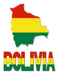 Bolivia map flag and text illustration