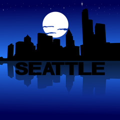 Seattle skyline reflected with text and moon illustration