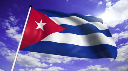 flag of Cuba with fabric structure against a cloudy sky