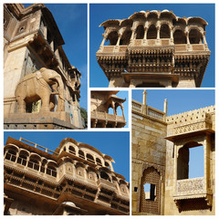 Collage of Jaisalmer architectural landmaks,Rajasthan,India