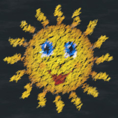 Happy sun chalk image generated background