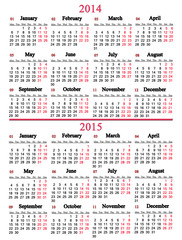 calendar for 2014 and 2015 years