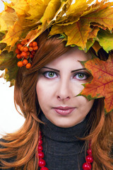 Girl with a wreath of leaves