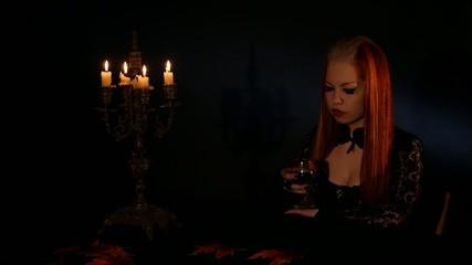 vampire girl drinks the blood