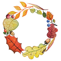 Vector Watercolor autumn Leaves wreath