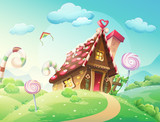 sweet house of cookies and candy. meadows and growing caramels. - 71191417