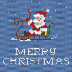 Christmas card, knitted pattern,