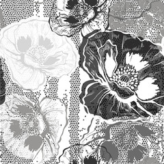 Monochrome seamless pattern with poppies. Hand-drawn floral back