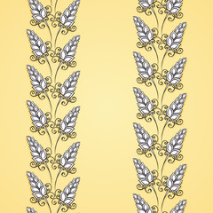 Seamless Floral Pattern (Vector). Hand Drawn Texture with Spikel