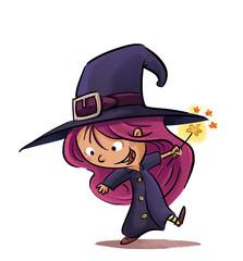 niña con disfraz de bruja
