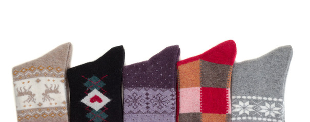 Lots of knitted woolen socks