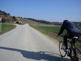 In bicicletta d'inverno con determinazione