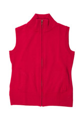 Crimson knitted vest.