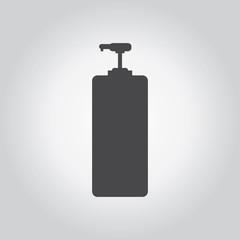 Sanitizer black icon set. Medical tool grey icons set. Flat desi