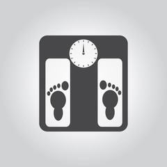 Weighing scale black icon set. Medical tool grey icons set. Flat