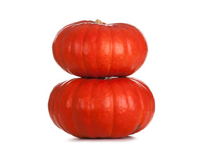 Two red pumpkins