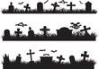 Halloween graveyard set illustrated on white