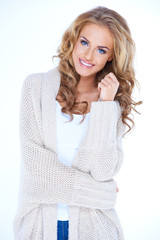 Smiling Blond Woman Wearing Sweater Cardigan