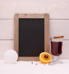 Chalkboard, mulled wine, orange and spice