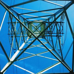 Electric power line. View from bottom side