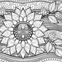 Vector Monochrome Floral Background. Hand Drawn Texture with Flo
