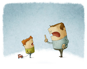 Father scold and shout at his son