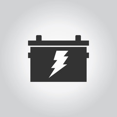 Battery with electric symbol icon. Industy black grey icons set.
