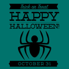Spider typographic Halloween card in vector format.