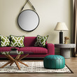 canvas print picture - Contemporary elegant red living room