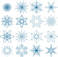 Set of stylized vector snowflakes isolated on white
